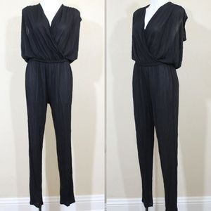 Halston Jumpsuit V Neck Sleeveless Slim Viscose